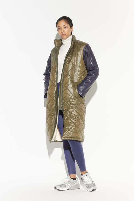 Apparis Brooklyn Long Quilted Puffer - Army Green / Navy