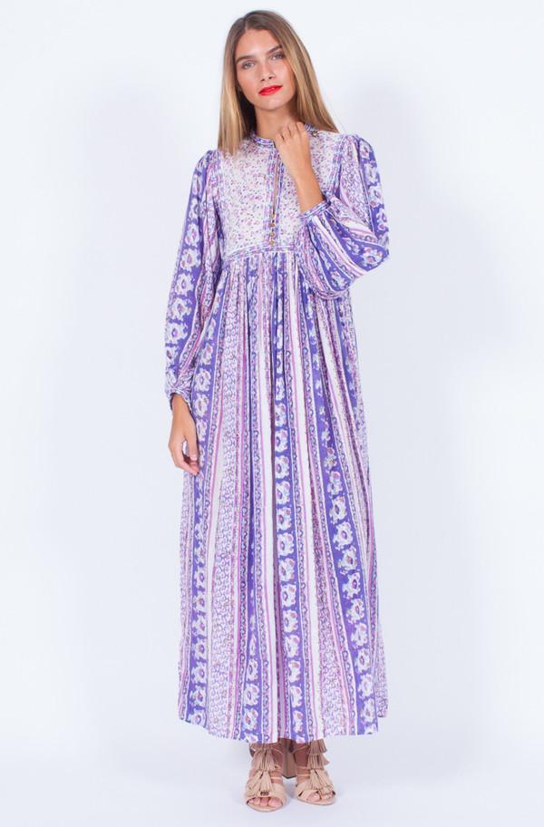 Yo Vintage! RARE INDIAN COTTON GUAZE FLORAL DRESS (ONE SIZE)