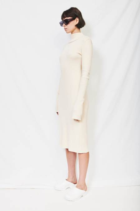 Assembly Rib Mockneck Dress - Ecru