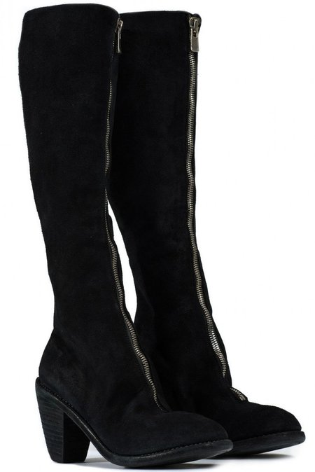 Guidi 3010fz knee high front zip boots - black