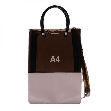 nana-nana Opaque A4 Bag - Black/Light Pink