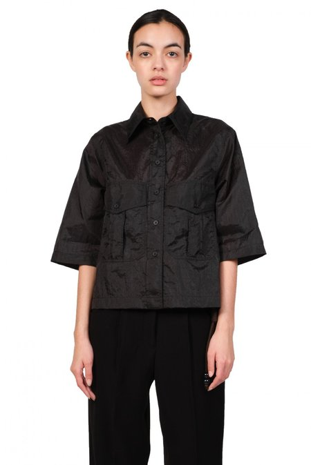 Song for the Mute Cropped Military Shirt - Black