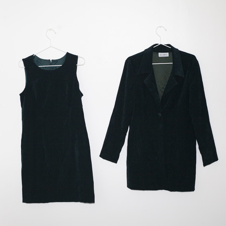 PRE-LOVED Kintsugi Velvet Dress and Jacket Set - Forest Green