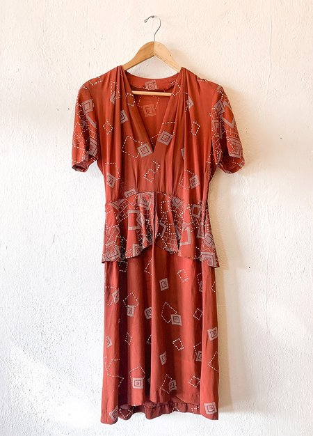 Vintage Rayon Peplum Dress - red