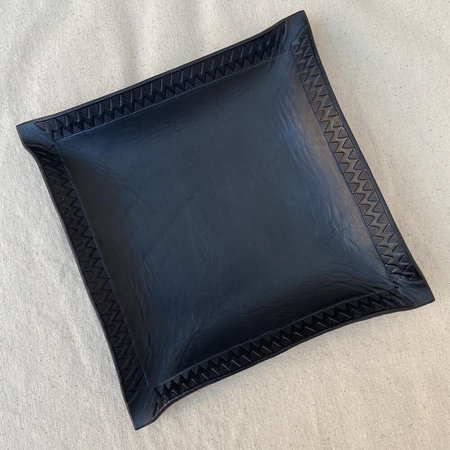 Made Solid x Arkestra XL LEATHER Hand Shaped Tray - BLACK