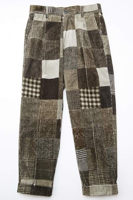 Beams Plus 1Pleat Corduroy Patchwork Print Pants - Grey