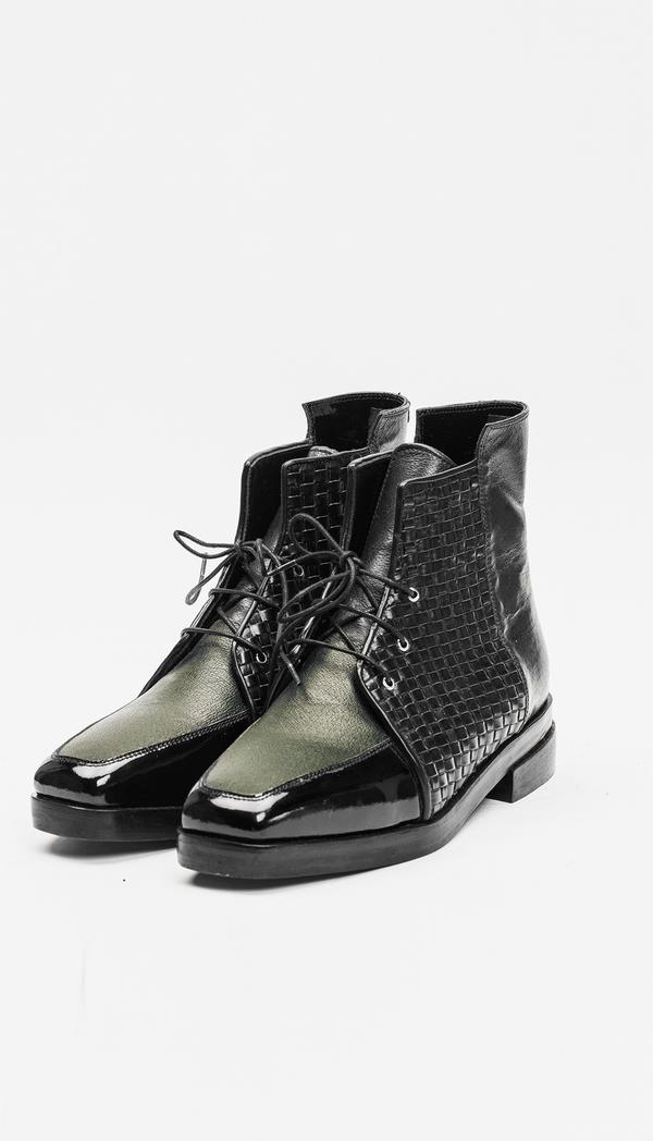 Berenik Shoes Leather / Prototype - Green/Black Woven/Black Patent