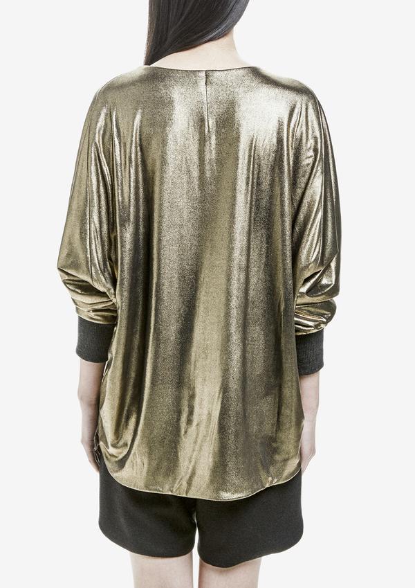 Berenik Sweater Long Sleeves Rib Cuff Metallic Cotton - Gold