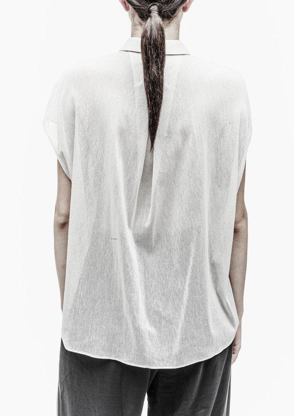 Berenik Shirt Collar Front Pockets Cotton Mesh - Light Gray