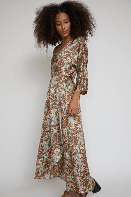 No.6 Georgia Wrap Dress - Mint/Ochre Galaxy