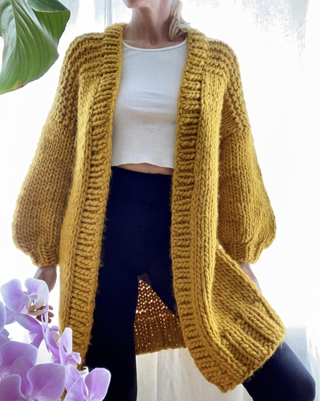 Bozidara Hand Knit Shoulder Detail Cardigan - Mustard