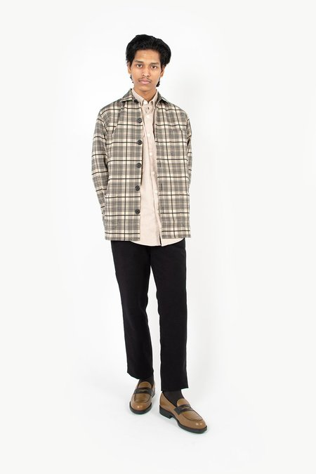 Schnayderman's Wool Mix Check Overshirt - Black/Khaki