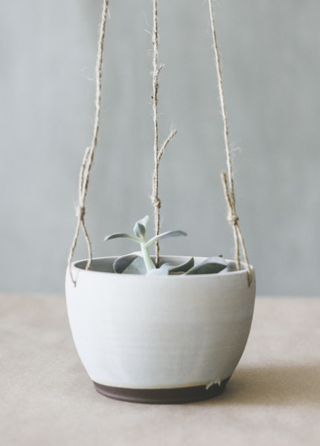 Notary Ceramics Hanging Planter in Satin Grey