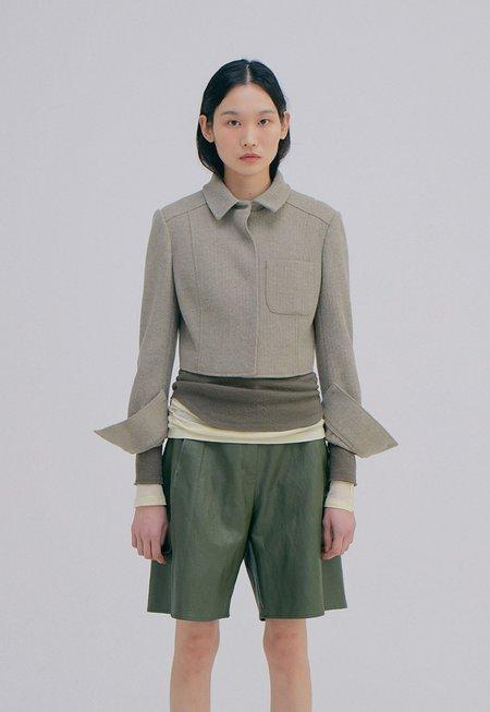 WNDERKAMMER Knitted Crop Jacket - Light Khaki