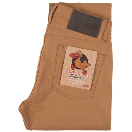 Naked & Famous WEIRD GUY DUCK Canvas Selvedge denim - brown