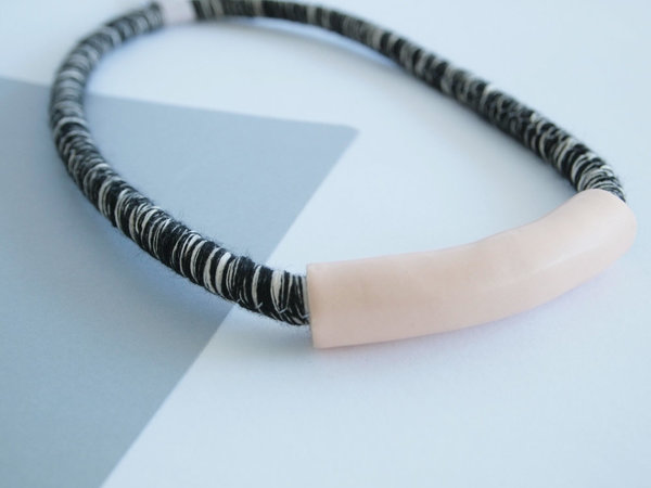 YYY short peach tube necklace on variegated cord
