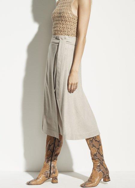 Vince High Waist Belted Skirt - H Oatmeal