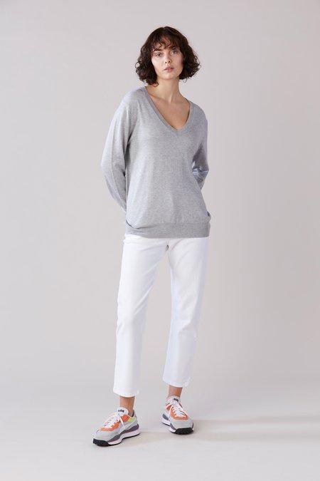 Laing Home Emma Silk V-Neck Sweater - Silver