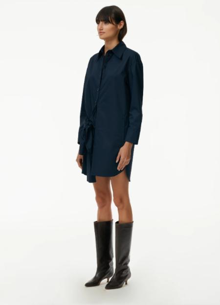Tibi Sleeve Tie Short Dress - Dark Navy