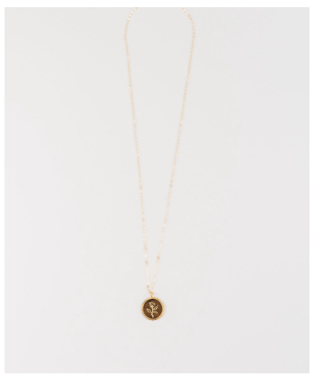 Wolf Circus Rose Coin Pendant - Gold