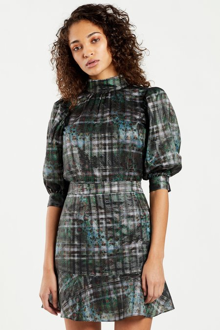 Marie Oliver Filly Organza Skirt - Inky Metallic Plaid