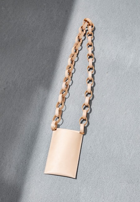 Building Block Iphone Sling Bag With Chain - Veg Tan