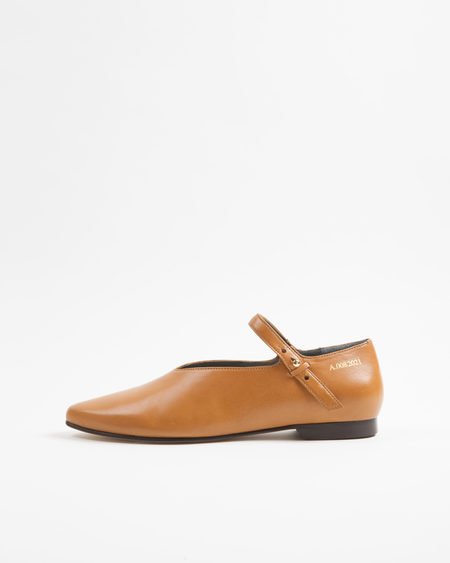 ACT SERIES Walter Ankle Strap Ballerina Flats - Camel