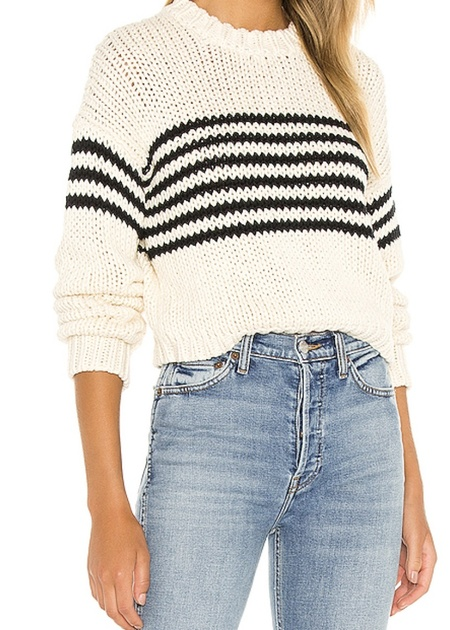 Pistola Nisha Crew Neck Sweater - Cream/Black