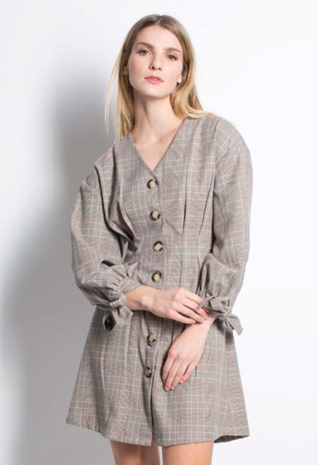 Six Crisp Days Moska Dress - Grey Plaid