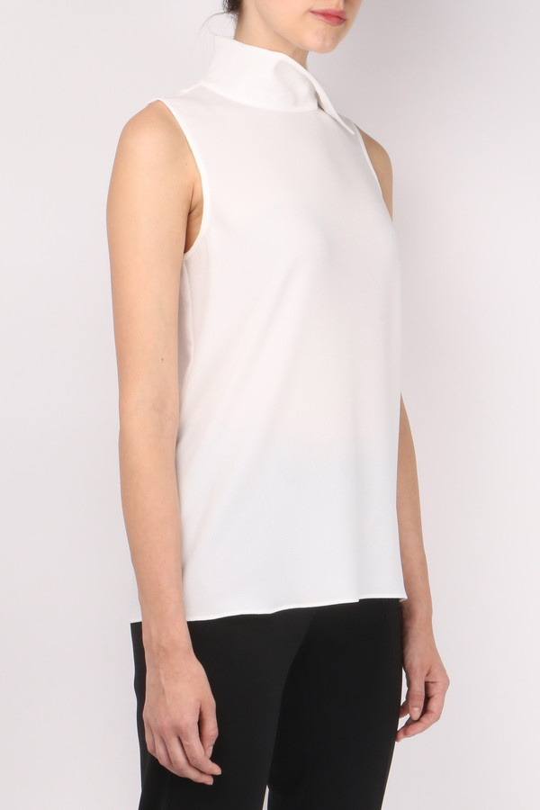 Tibi Savanna Crepe Sleeveless Mock Neck Top