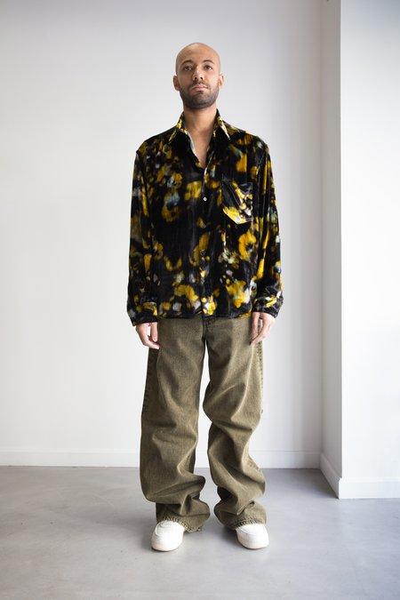 CMMN SWDN Digital Print Velvet Relaxed Fit Cedric Shirt - Black