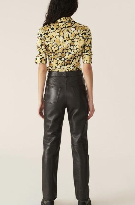 Ganni Stitch Leather Pants - Chicory Coffee