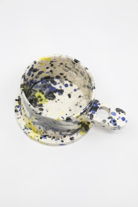 Gravel & Gold Splatter Paint Bowl