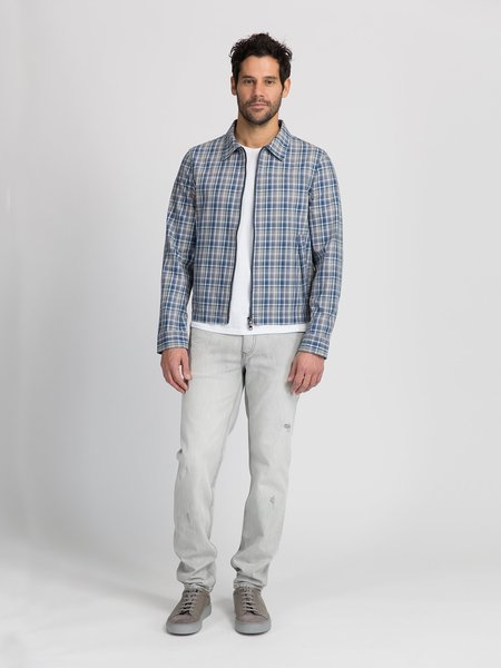 O.N.S Checked Connor Car Coat - Navy