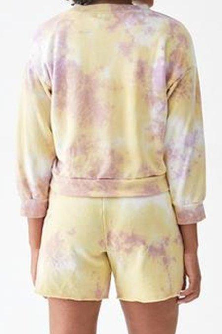 Michael Stars Sia Crop Tie Dye Sweatshirt - Lilac/Volt