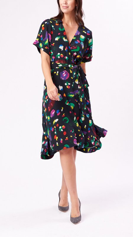 Mii Collection Short Sleeve Wrap Dress - Multi