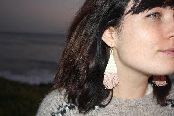 Blackbird Dagger Beaded Fringe Earrings