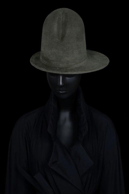 Esenshel DOME CREASED ASYMMETRIC BRIM HAT - OLIVE
