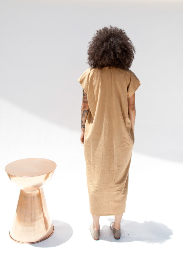 Miranda Bennett In-Stock: Everyday Dress, Oversized, Silk Noil in Camel