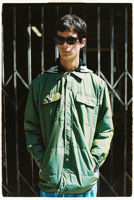 Lost Daze Hooded Puff Shirt Jacket - Iridescent Green