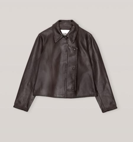 GANNI Stich Leather Jacket - Chicory Coffee