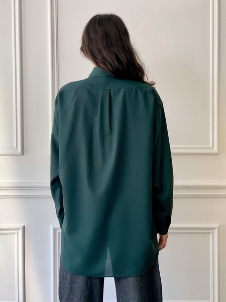 INDRESS Oversized Wool Voile Shirt - Strong Green