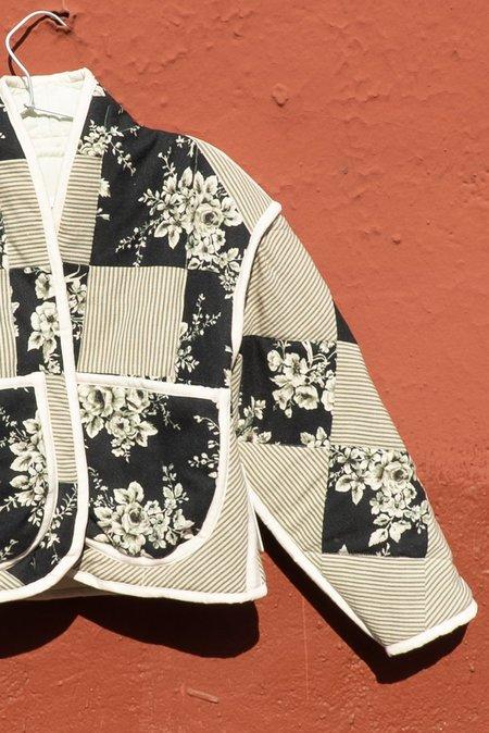 Jess Meany Floral Pinstripe Juniper Cropped Coat - BLACK