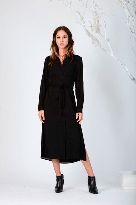 LUCCA Button-Up Black Shirtdress
