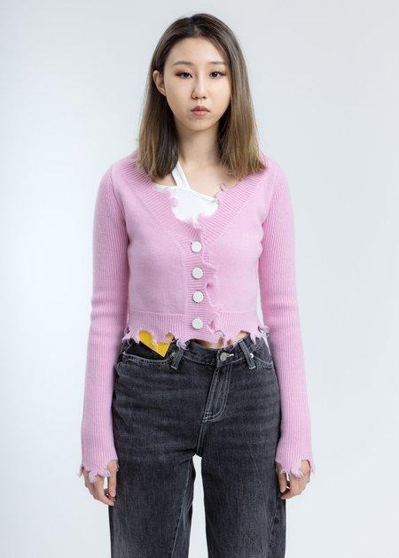 Ann Andelman Destroyed Cardigan - Pink