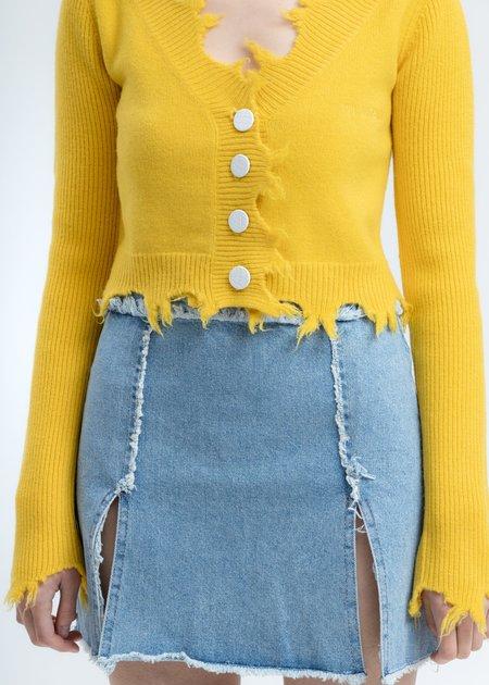 Ann Andelman Destroyed Cardigan - yellow