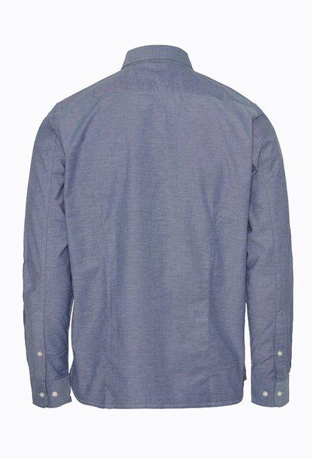 Knowledge Cotton ELDER Small Owl Oxford Shirt - Dark Denim