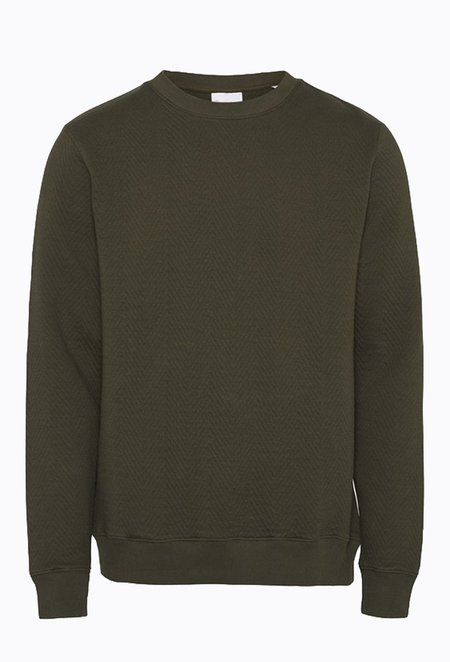 Knowledge Cotton ELM Quilted Sweater - Forrest Night
