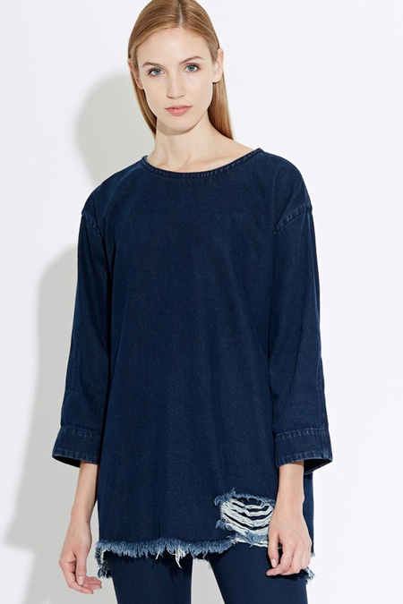WAVEN Eira Denim Shirt Dress- Hel Blue