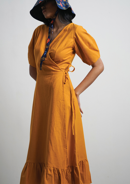 ENSEMBLE THE LABEL AMANITA WRAP DRESS - TURMERIC